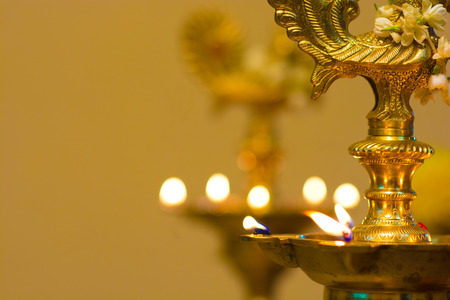 diyas: diwali oil lamp during festival period Stock Photo