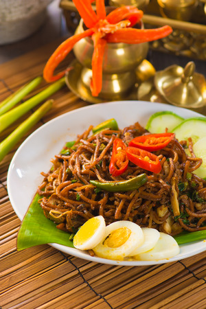 asian noodle: asian fried noodle with traditional table