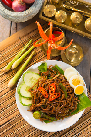 asian fried noodle with traditional  photo