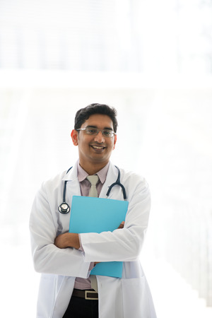 indian male doctor at hospital Stock Photo