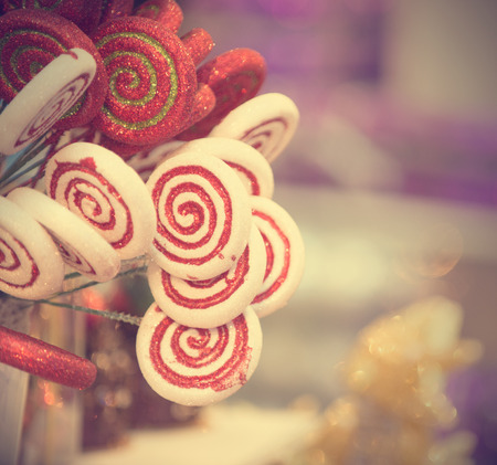 christmas candy in retro vintage filter Stock Photo