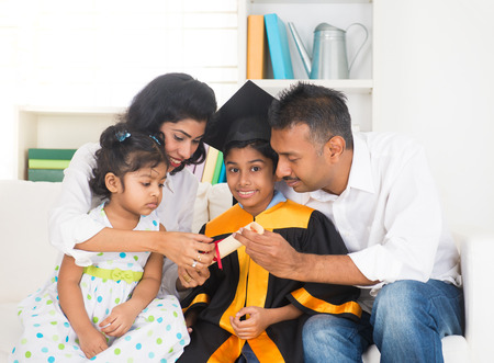 Happy indian family graduation, education concept photo   photo