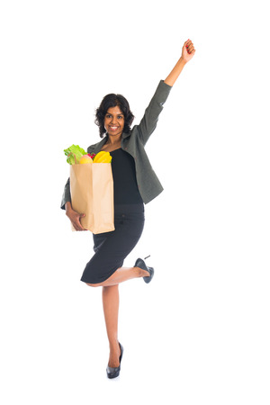 indian female shopping with business attire and white background