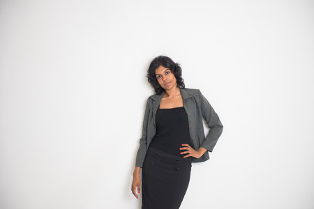 half dressed:  indian business female with a lot of copyspace on right Stock Photo