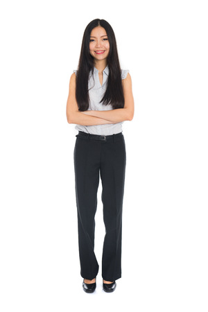 asian business female full body on white background photo
