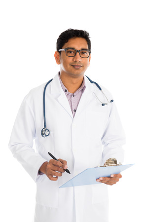 indian male doctor isolated on white background photo