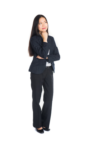 asian business woman thinking full body isolated in white photo