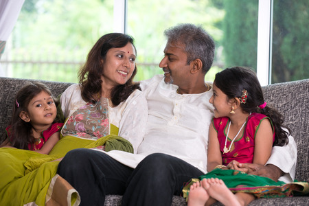 indian family: indian family in living room
