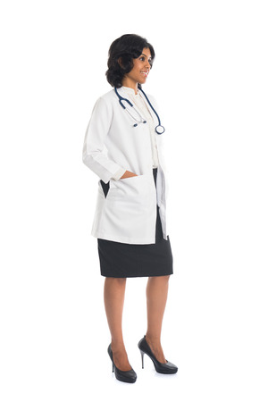 indian female doctor full body side view on white background