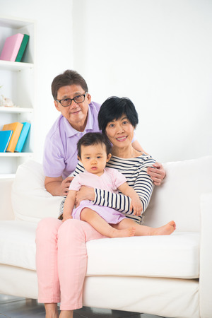 singapore grand parents with grand daugther with life style background photo