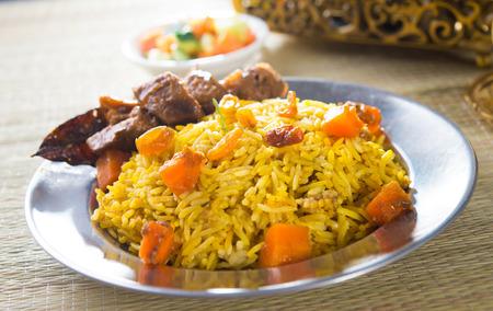 arabian food: arab rice, ramadan foods in middle east usually served with tandoor lamb