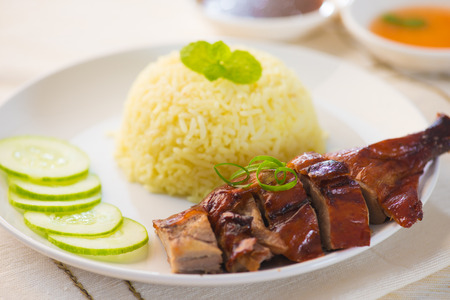 Chinese style roasted duck with rice photo