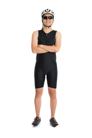 triathlete: portrait of asian male triathlete with cycling gears Stock Photo