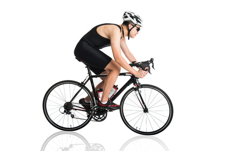 asian male triathlete on the bicycle race Stock Photo - 29823039