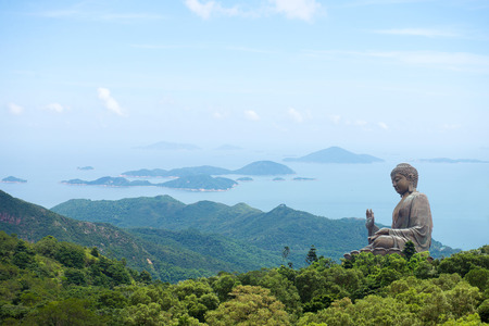 Hong Kong, Lantau Island Giant Buddha of Po Lin Monastery with blue sky Stock Photo