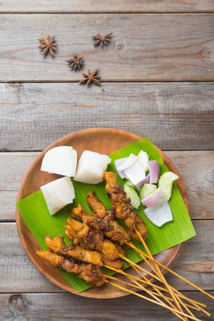 Chicken Satay von oben nach unten gedreht