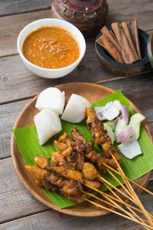 malaysia culture: chicken satay shot from top down