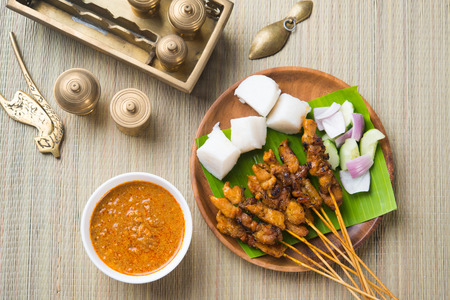 chicken satay shot from top down photo