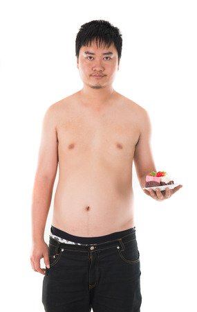 obese man: obese fat asian male with beer belly