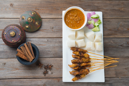 hari raya: chicken satay popular asian dish top view Stock Photo