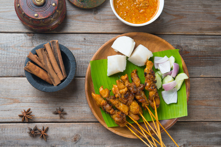 malay: chicken satay popular asian dish top view Stock Photo