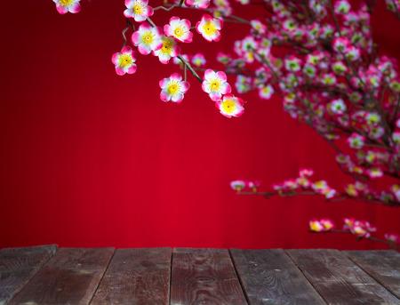 設計の目的のための空白の木製 copyspace と中国の旧正月 deocration