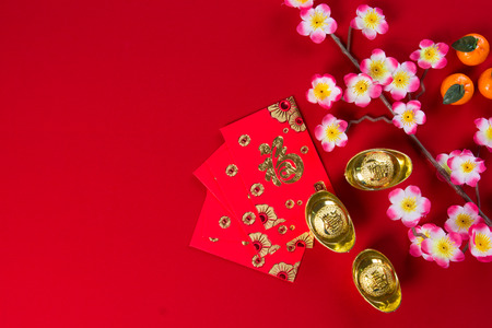 packets: chinese new year decorations top down view with copyspace