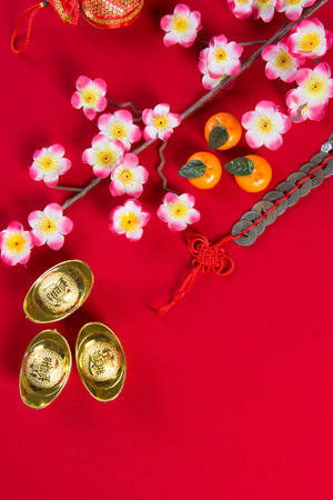 top of the year: chinese new year decorations top down view with copyspace