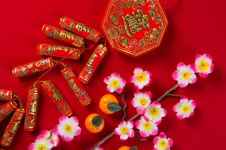ang: chinese new year decorations top down view with copyspace