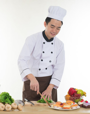 asian chef: asian chef preparing foods