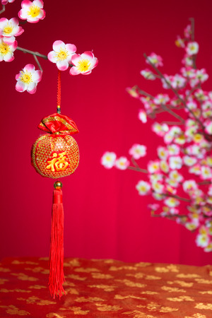 fire crackers: Red fire crackers over a Chinese new year background Stock Photo