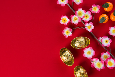 Chinois nouvelles décorations année haut en bas vue avec copyspace Banque d'images - 37540514