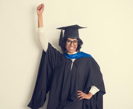 nepali: indian female student graduating in vintage tone Stock Photo