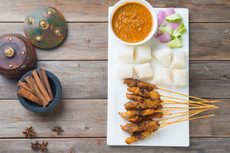 peanut sauce: chicken satay shot from top down
