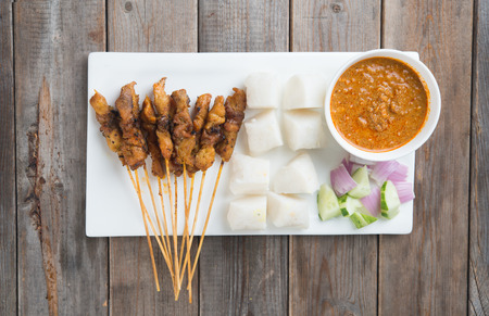 malay: chicken satay shot from top down