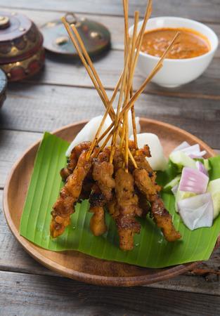Satay de poulet, plat asiatique populaire Banque d'images - 40196163
