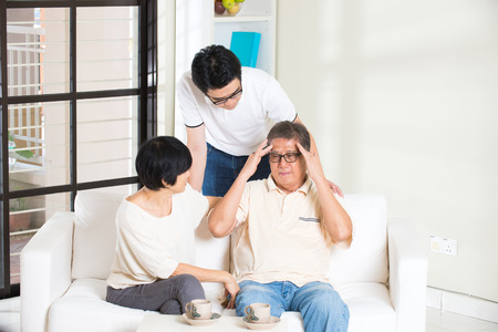 senior asian: asian man with sick father and mother Stock Photo