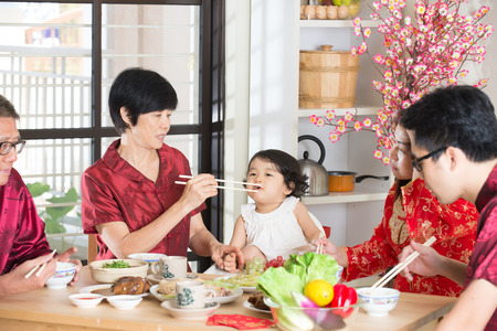 chinese new year food: Chinese new year reunion dinner Stock Photo