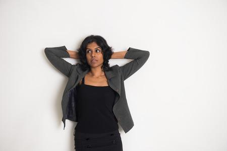 sad indian business woman Stock Photo