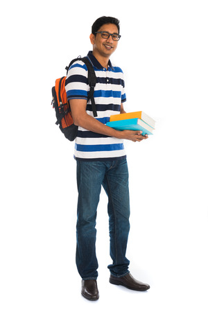 college boy: indian college male with book