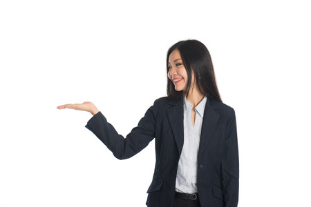 notecard: asian female with hands holding something Stock Photo