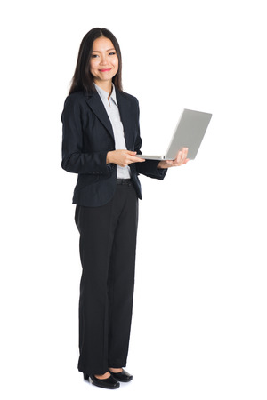 asian female business on laptop Stock Photo