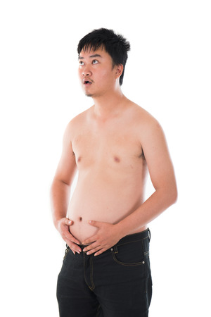 unhappy man: obese chinese with belly