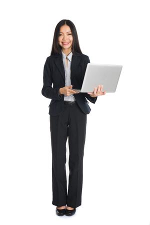 asian female business on laptop Stock Photo
