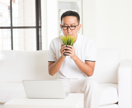 sniffing: casual asian man sniffing grass in livingroom