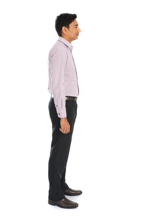 man side view: side view of formal indian business man with white background Stock Photo
