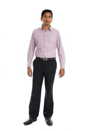 personas de pie: Hombre de negocios indio formal con fondo blanco Foto de archivo