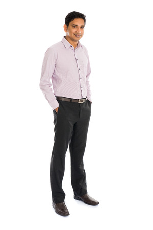 south asian: formal indian business man with white background