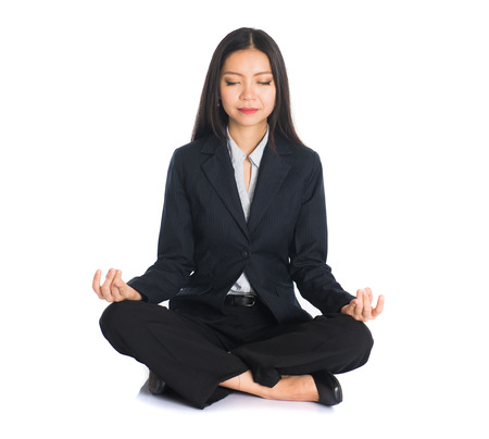woman only: asian business female yoga