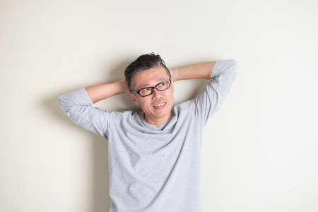 chinese face: asian senior male in casual Stock Photo